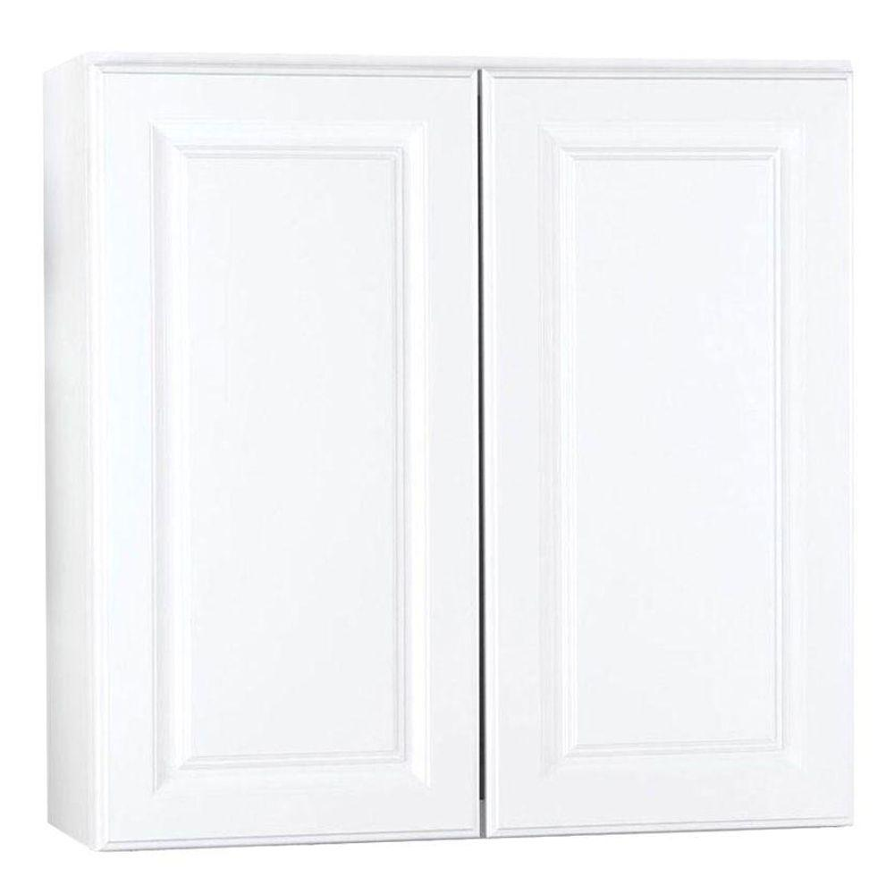Hampton Bay Hampton Assembled 30x30x12 in. Wall Kitchen Cabinet in Satin White