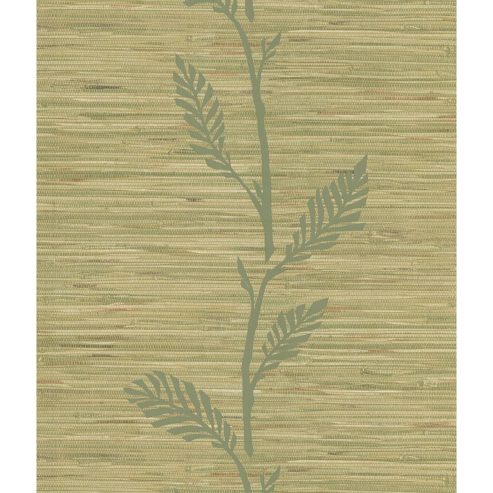 National Geographic Grasscloth Leaf Wallpaper