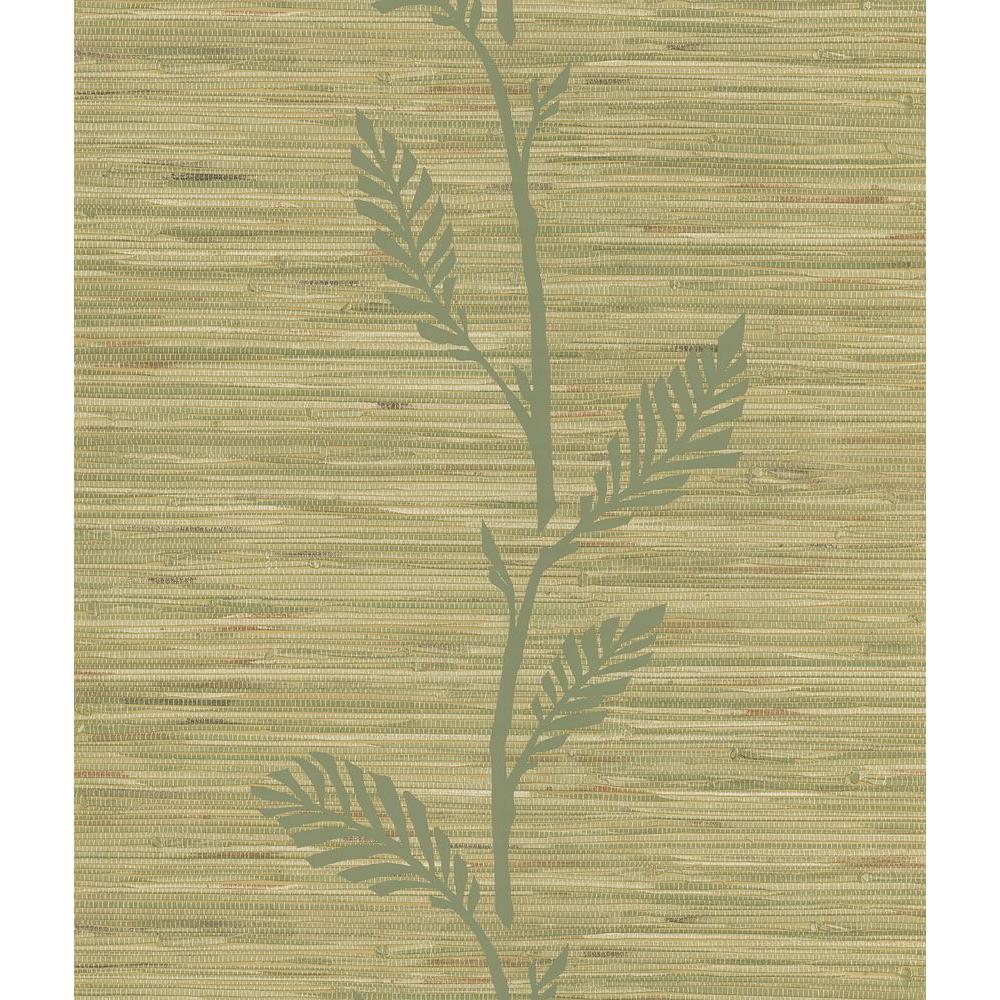 Nzimu Olive Grasscloth Leaf Wallpaper Sample