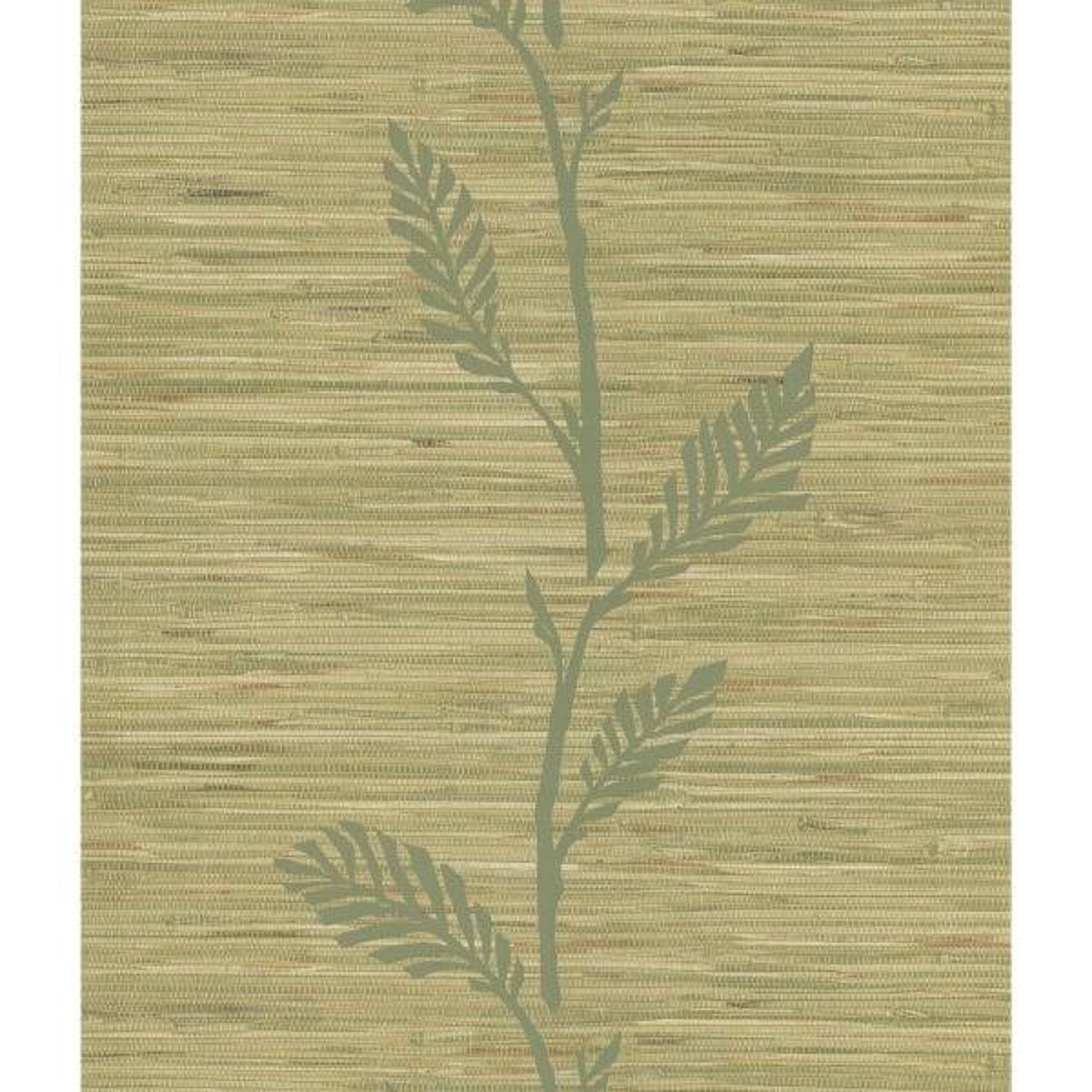 National Geographic Nzimu Olive Grasscloth Leaf Wallpaper Sample