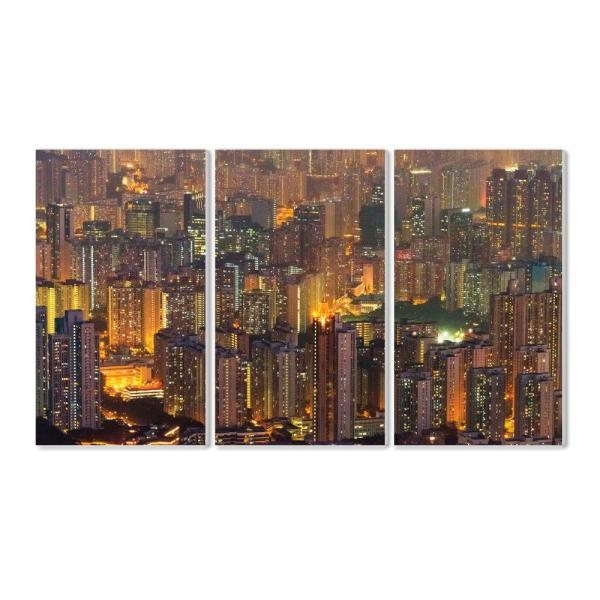 The Stupell Home Decor Collection 11 In X 17 In Aerial View Of Hong Kong At Dusk By Keren Su Danitadelimont Com Wood Wall Art Twp 261 Wd 3pc 11x17 The Home Depot