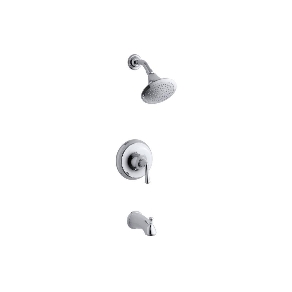 Forte Sculpted Single-Handle 1-Spray 2.0 GPM Tub and Shower Faucet with