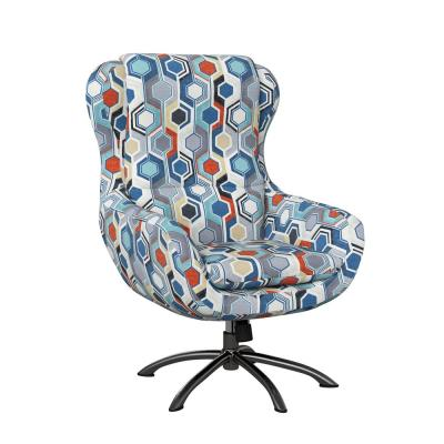 Selena Modern Swivel Rocking Chair in Blue Beehive Print