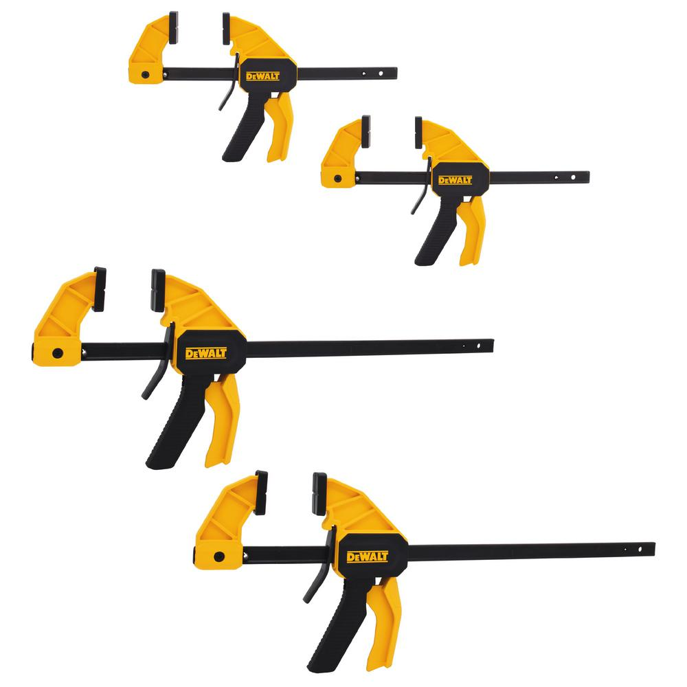 Store SKU  1000045052. DEWALT Medium and Large Trigger Clamp  4 Pack  DWHT83196   The