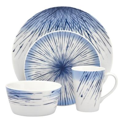 4-Piece Casual blue Porcelain Dinnerware Set (Service for 1)