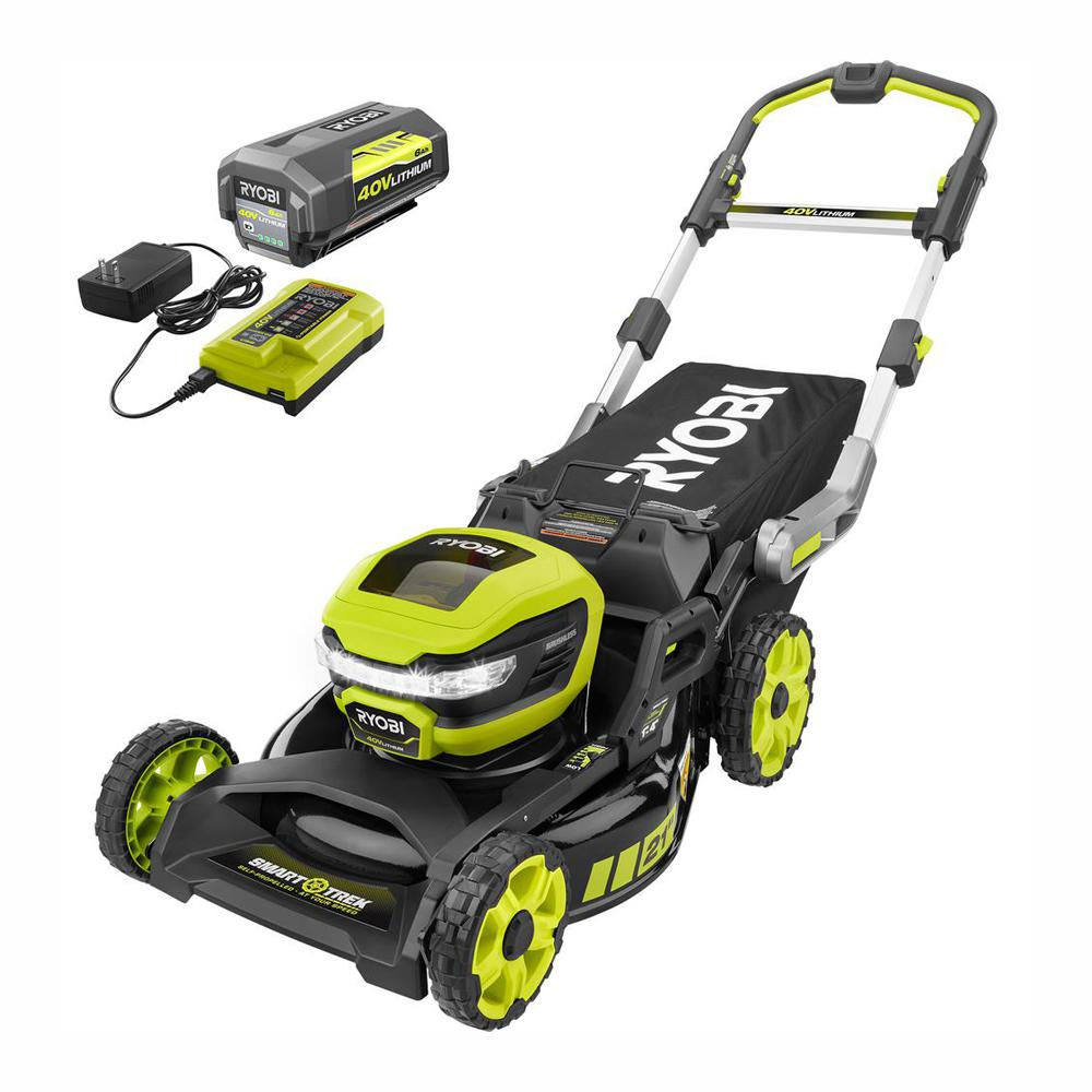21 in. 40-Volt Brushless Lithium-Ion Cordless SMART TREK Self-Propelled Walk Behind Mower with 6.0Ah Battery and Charger