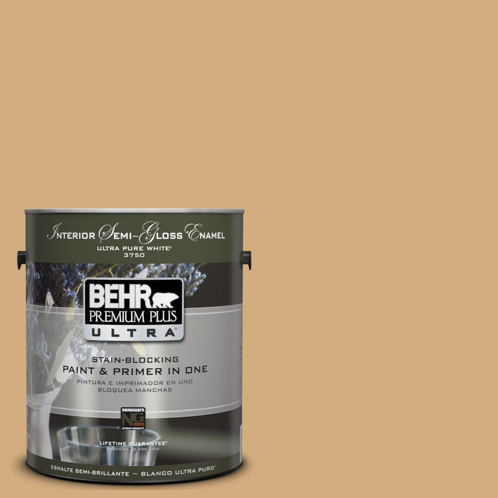 BEHR Premium Plus Ultra 1-gal. #UL160-4 Spiced Cashews Interior Semi-Gloss Enamel Paint