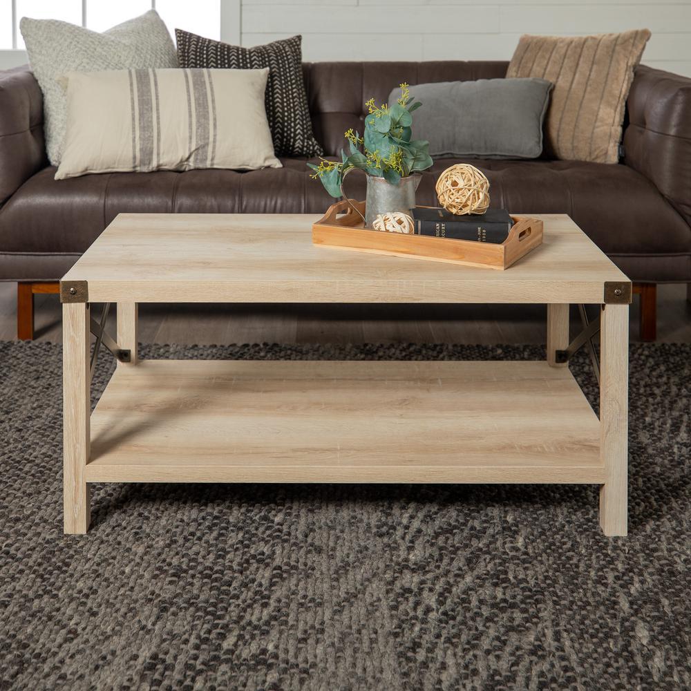"40"" Rustic Urban Industrial Metal X Coffee Table - White Oak/Bronze"