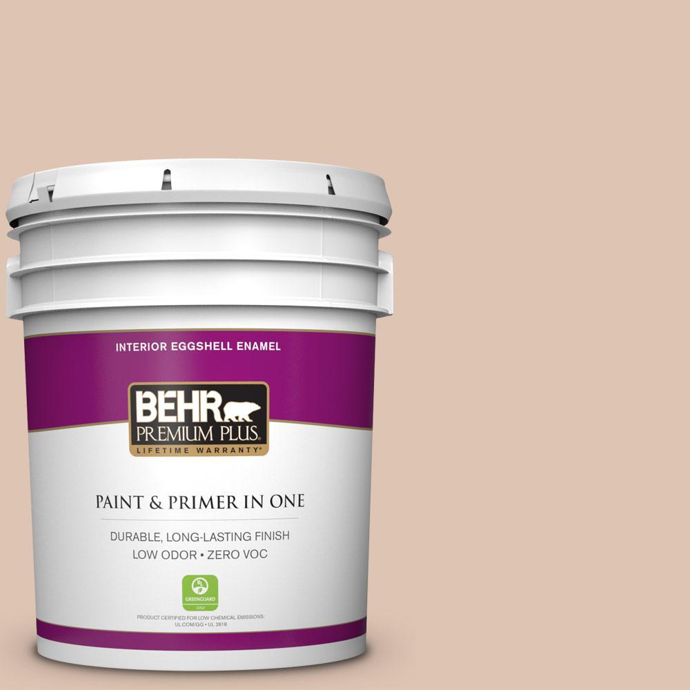 BEHR Premium Plus 5-gal. #280E-2 Arabian Sands Zero VOC Eggshell Enamel Interior Paint
