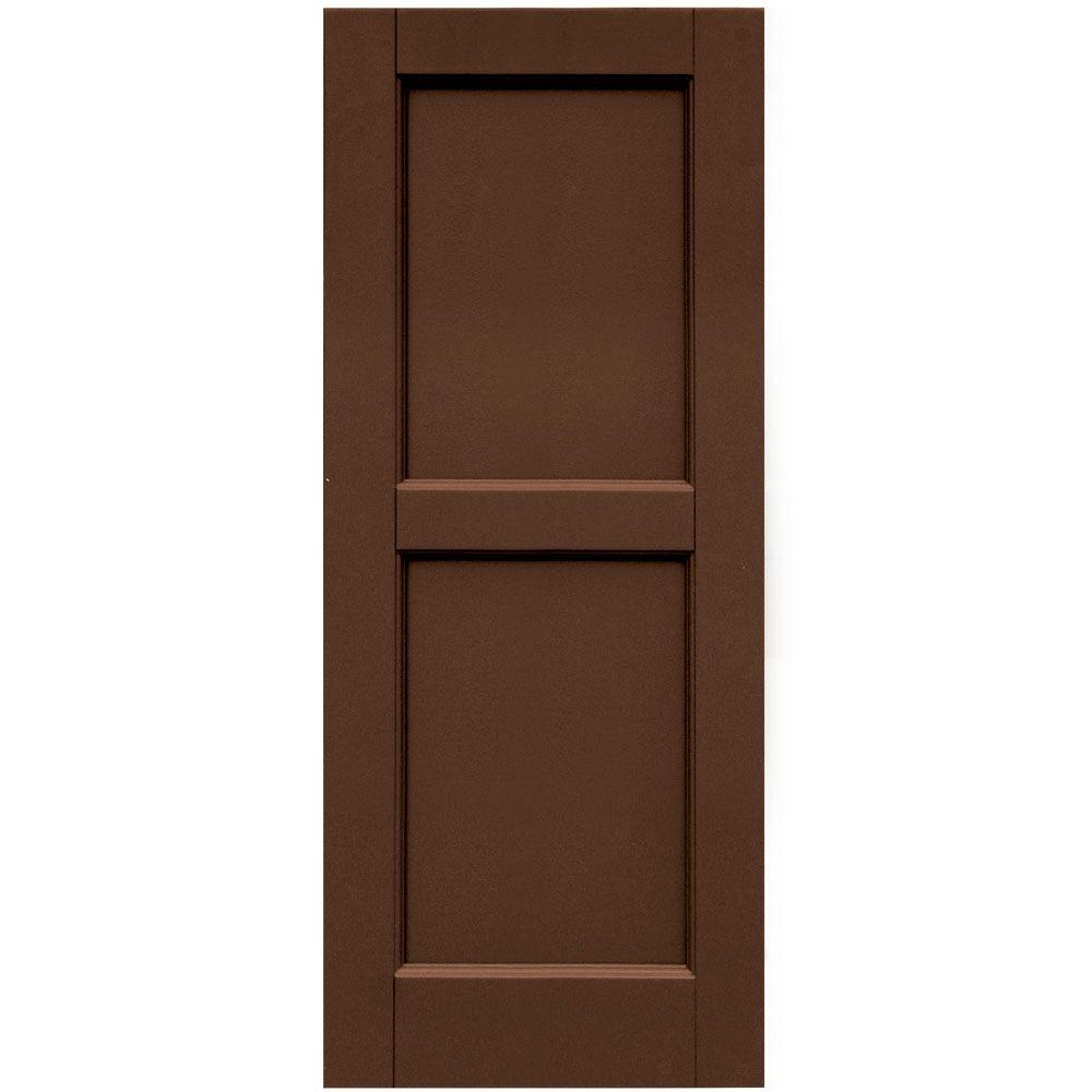 Winworks Wood Composite 15 in. x 37 in. Contemporary Flat Panel Shutters Pair #635 Federal Brown