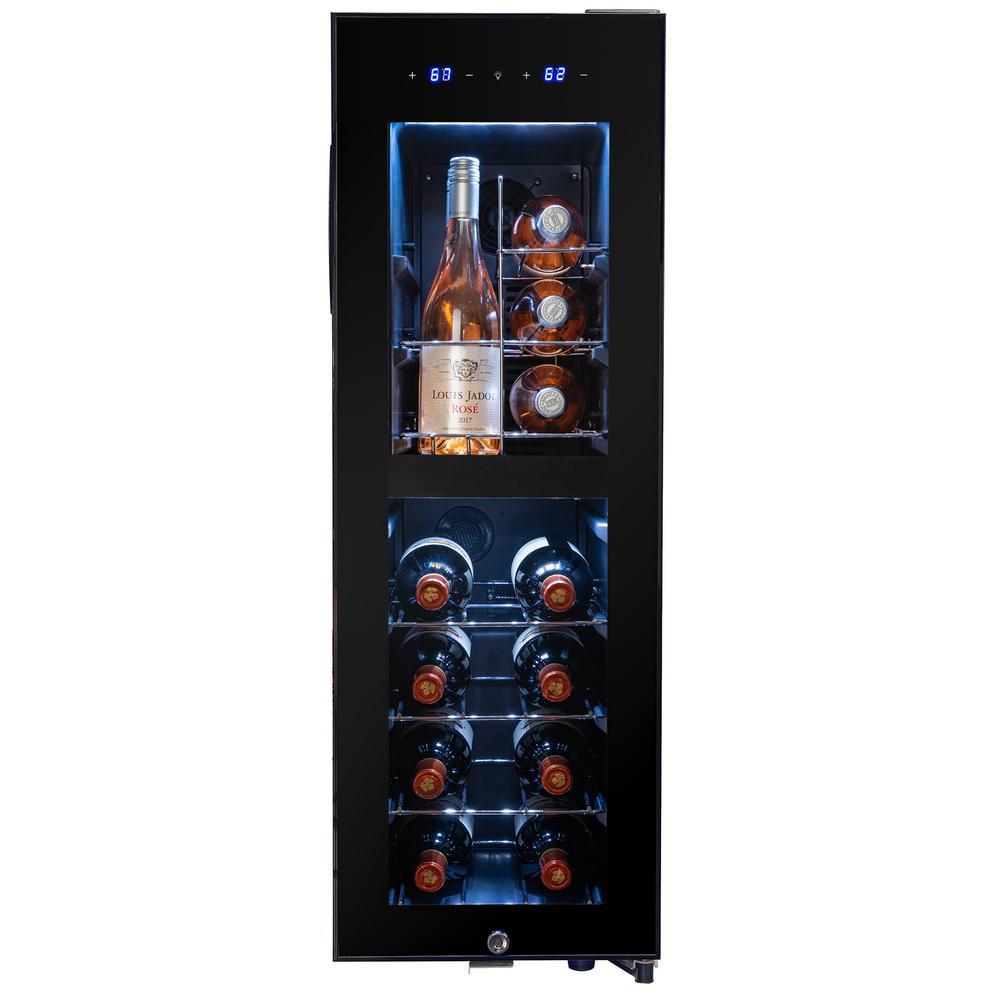 34.75 in. 16-Bottle Dual Zone Compressor Freestanding Wine Cooler