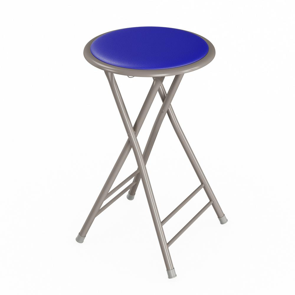 Superb Trademark Home 24 In Royal Blue Heavy Duty Padded Round Folding Bar Stool Bralicious Painted Fabric Chair Ideas Braliciousco