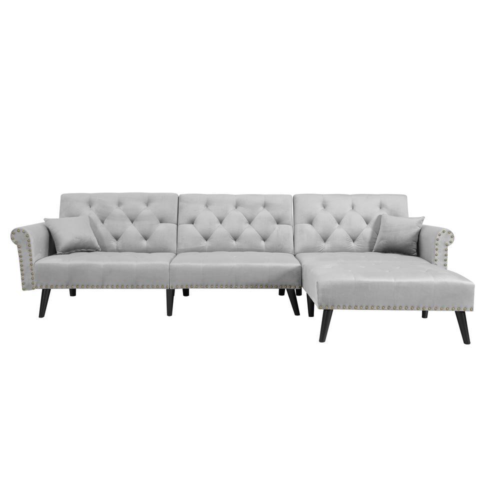 59.37 in. W Light Grey Convertible Sleeper Velvet Sofa Bed