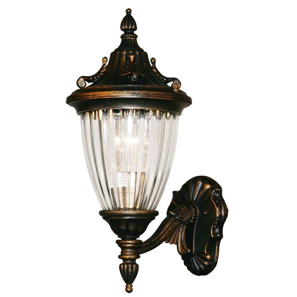 Tulen Lawrence 1-Light Outdoor Black Gold Incandescent Wall Light