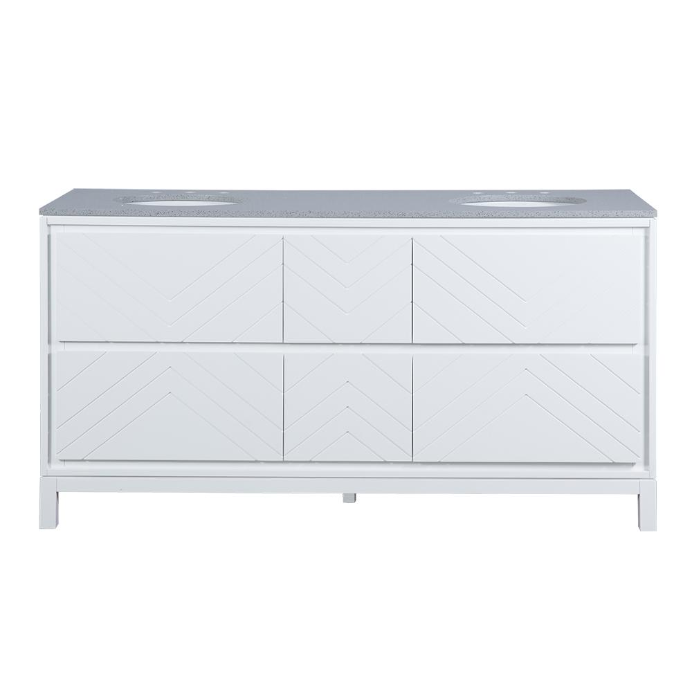 Home Decorators Collection Clemente 67 in. W Double Vanity in White with Quartz Vanity Top in Grey with White Sink