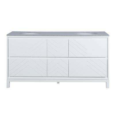 Clemente 67 in. W Double Vanity in White with Quartz Vanity Top in Grey with White Sink