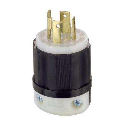 30 Amp 125/250-Volt Locking Grounding Plug, Black/White