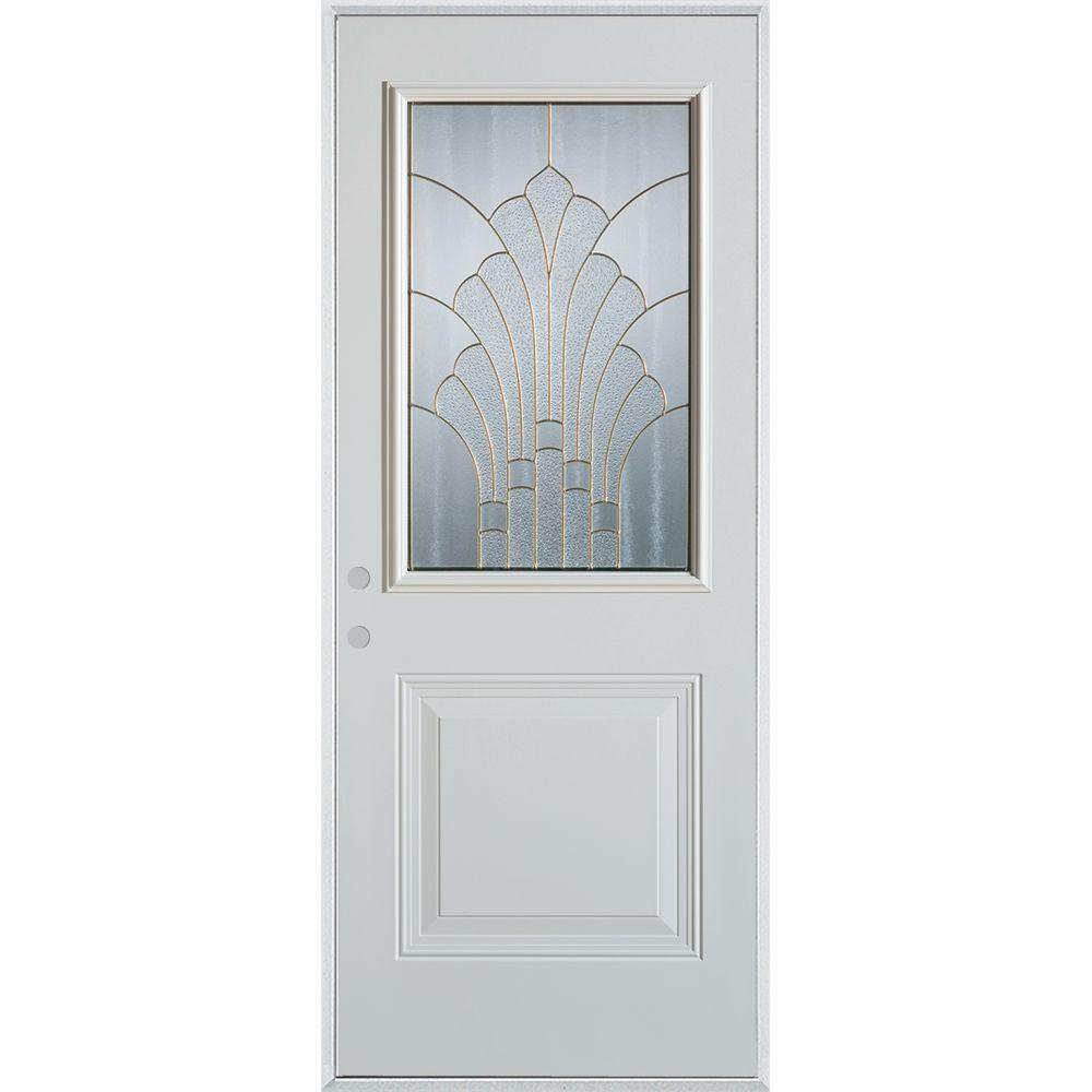 Stanley Doors 33.375 in. x 82.375 in. Art Deco 1/2 Lite 1-Panel Painted White Steel Prehung Front Door