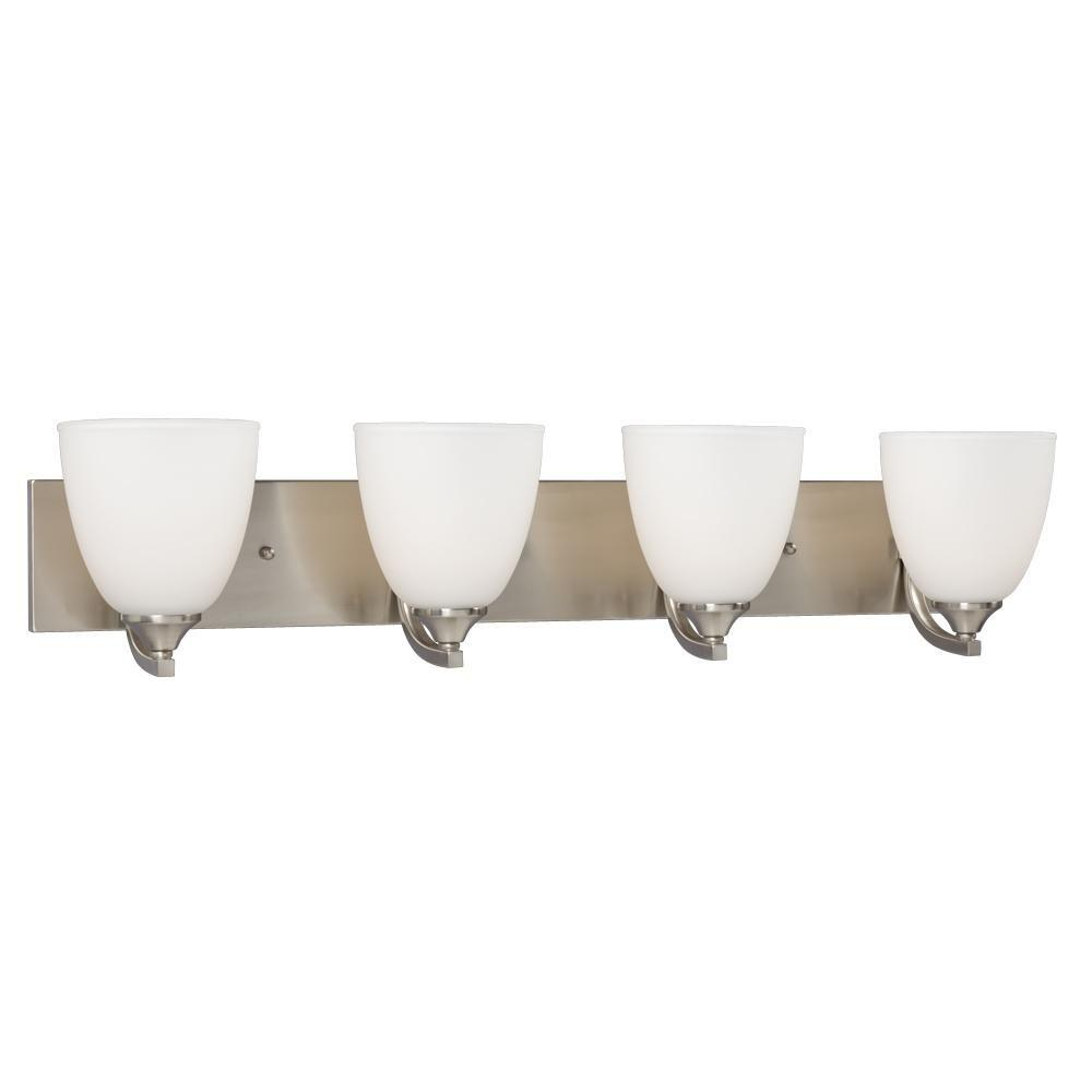 Brook 4-Light Brushed Nickel Bath Vanity Light
