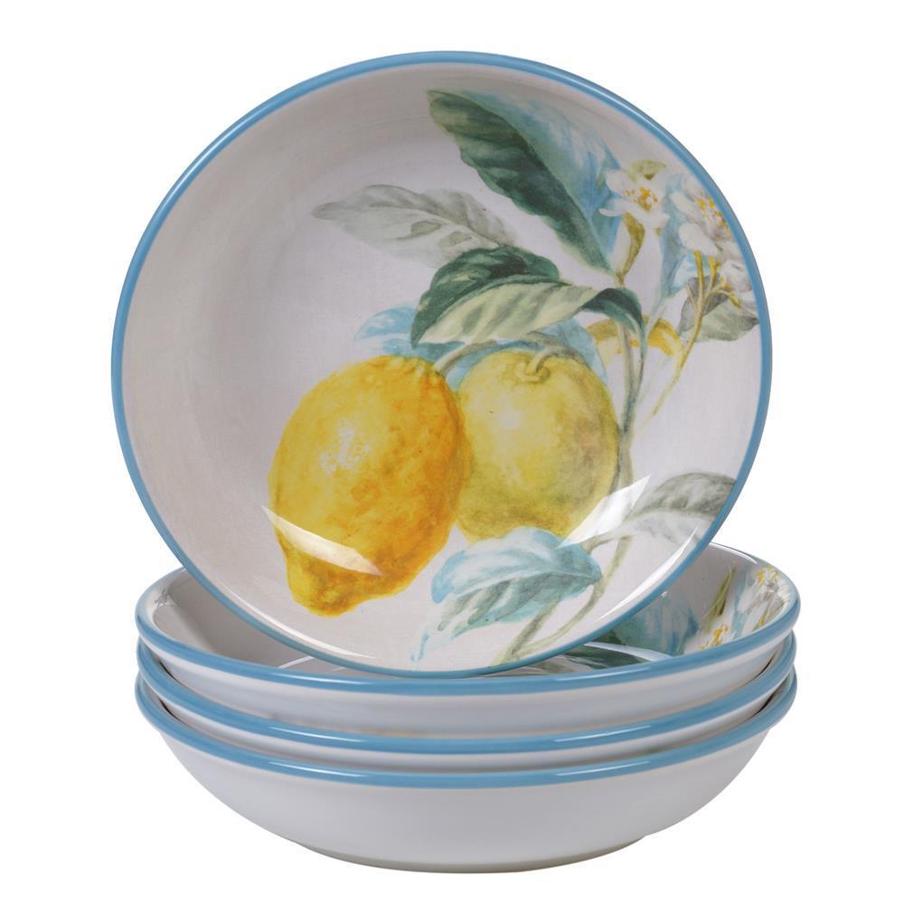 Citron 4-Piece Patterned Multi-Colored Earthenware 36 oz. Soup/Pasta Bowl Set (Service for 4)