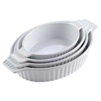 4-Piece White Oval Bakeware Set Porcelain Baking Dish Set for Cooking Kitchen