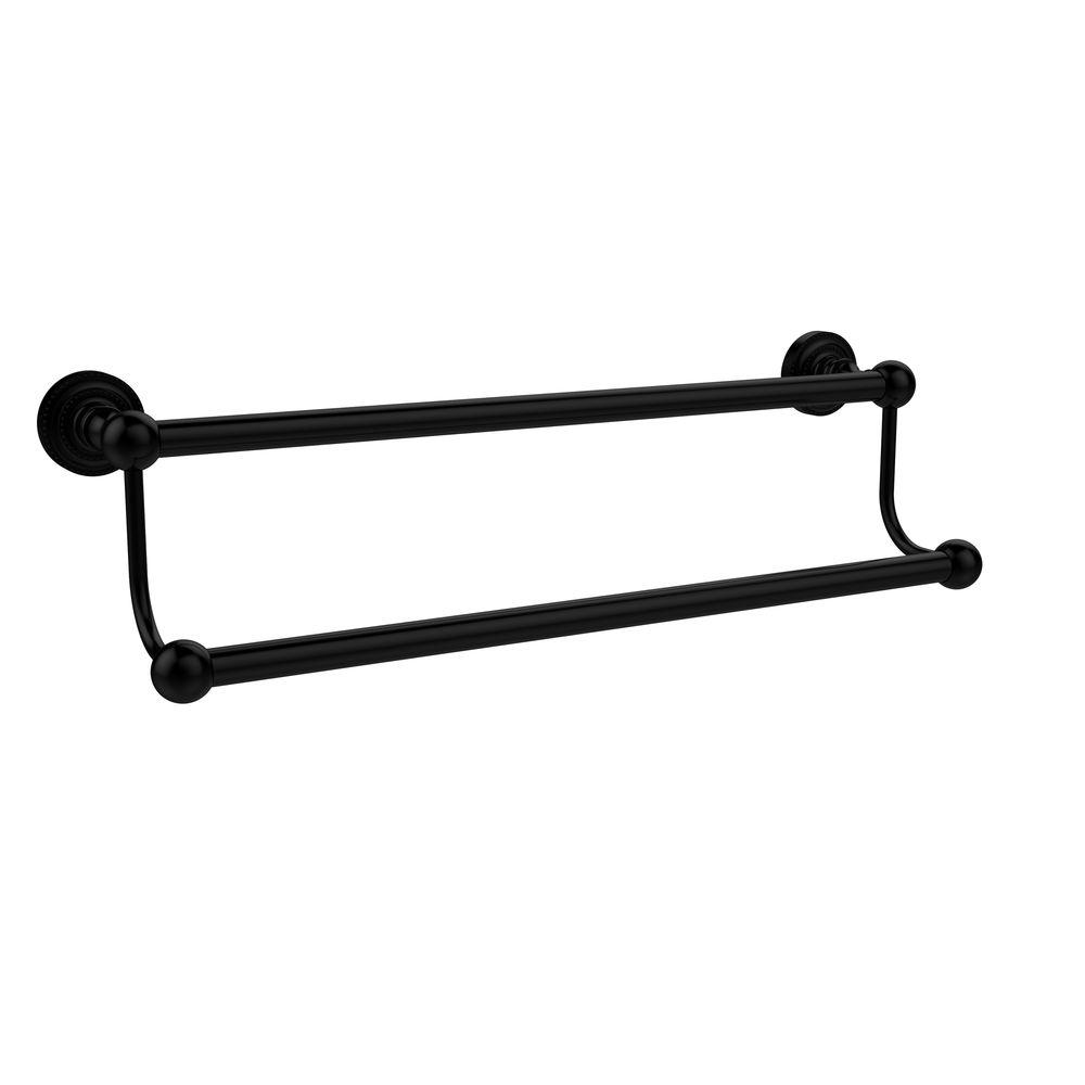 Allied Brass Dottingham Collection 18 in. Double Towel Bar in Matte Black