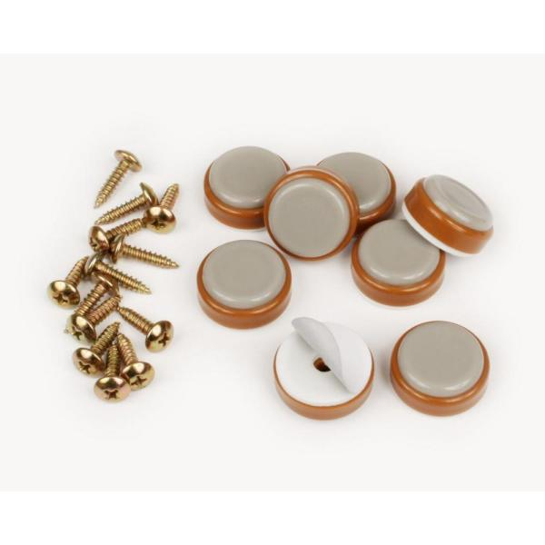 1 in. Round Caramel Color Self Stick or Screw On Floor Protector Chair Glides/Slider Feet (Set of 8)