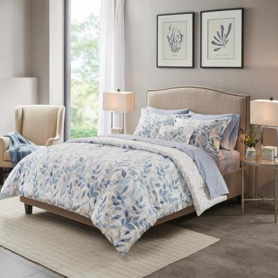 Thelma 8-Piece Blue Queen Reversible Complete Bedding Set