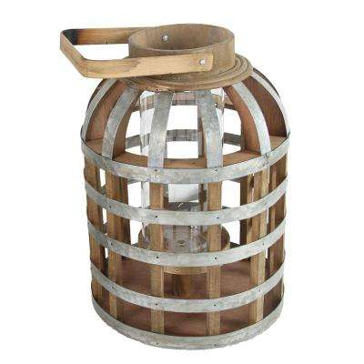 9.5 in. x 18 in. Wood and Iron Decorative Lantern