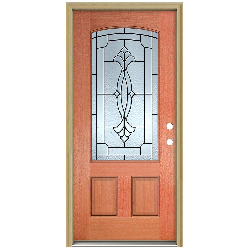 JELD-WEN 36 in. x 80 in. Champagne Camber Top 3/4 Lite Unfinished Mahogany Prehung Front Door with Brickmould and Patina Caming
