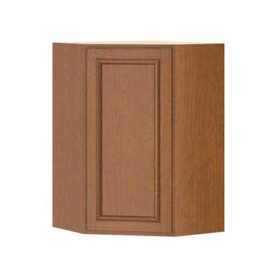 Madison Assembled 24x36x24 in. Corner Wall Cabinet in Cognac