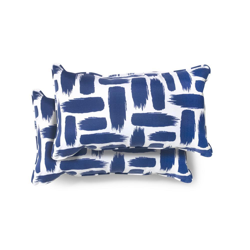 20 in. x 12 in. Baja Nautical Outdoor Lumbar Pillow (2 Pack)