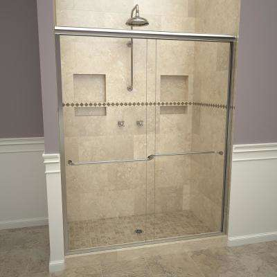 1200 Series 58-1/2 in. W x 70 in. H Semi-Frameless Sliding Shower Doors in Polished Chrome with Towel Bar