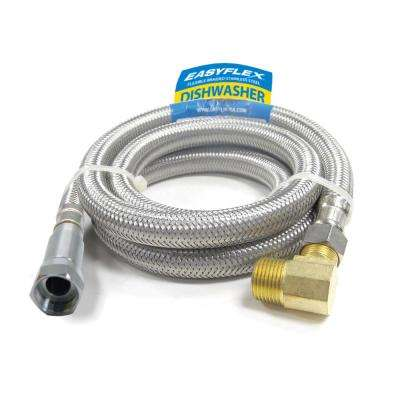 SafeFlow 3/8 in. C with EFV x 3/8 in. Elbow 60 in. L Stainless Steel Braided Dishwasher Connector