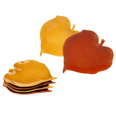 Autumn Fields by Susan Winget Pumpkin and Harvest Gold 3-D Leaf 7.75 in. Appetizer Plates (Set of 6)