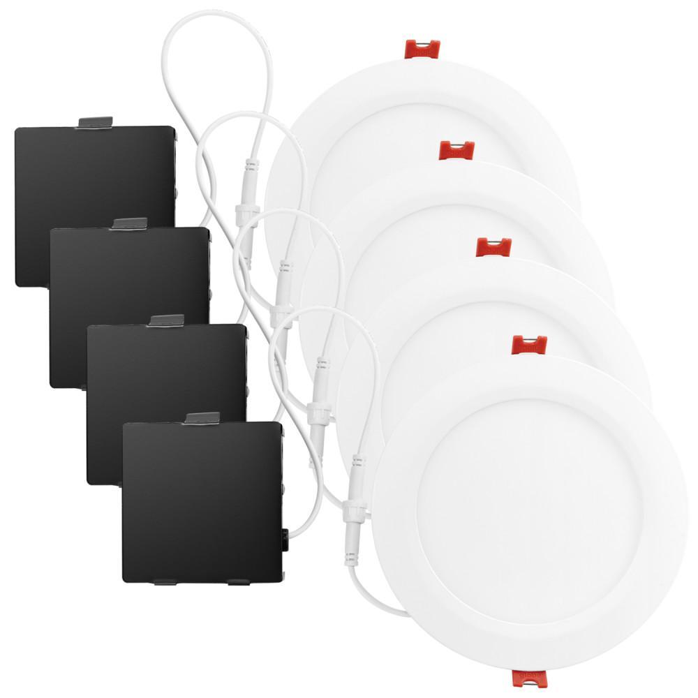 Ultra Slim Designer Series 6 in. White Integrated LED Recessed Kit (4-Pack)