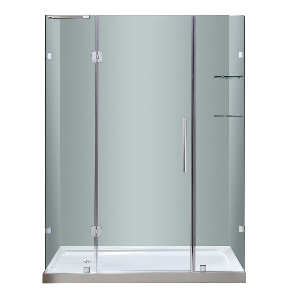 Soleil 60 in. x 77-1/2 in. Completely Frameless Hinge Shower Door