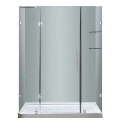 Soleil 60 in. x 77-1/2 in. Completely Frameless Hinge Shower Door in Stainless Steel with Glass Shelves and Left Base