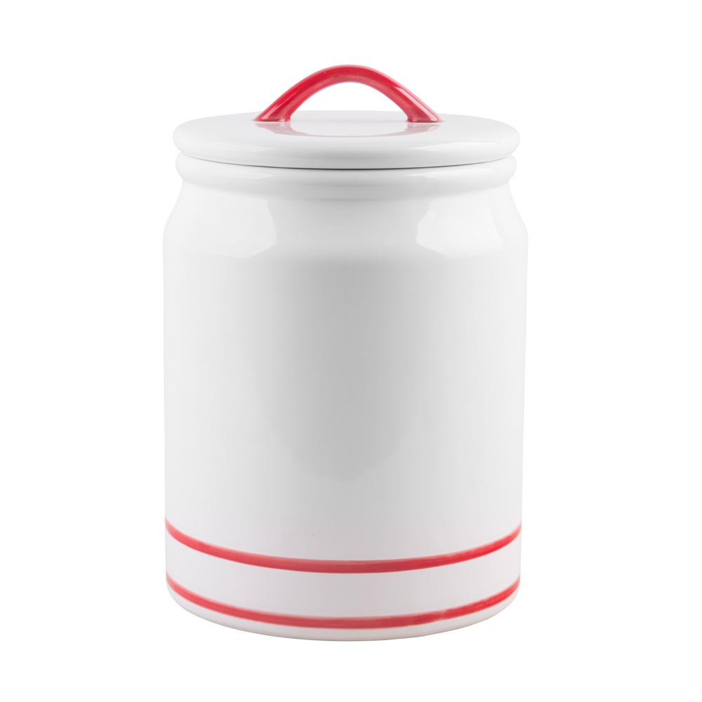 Home Essentials And Beyond 105 Oz Red Striped Ceramic Canister