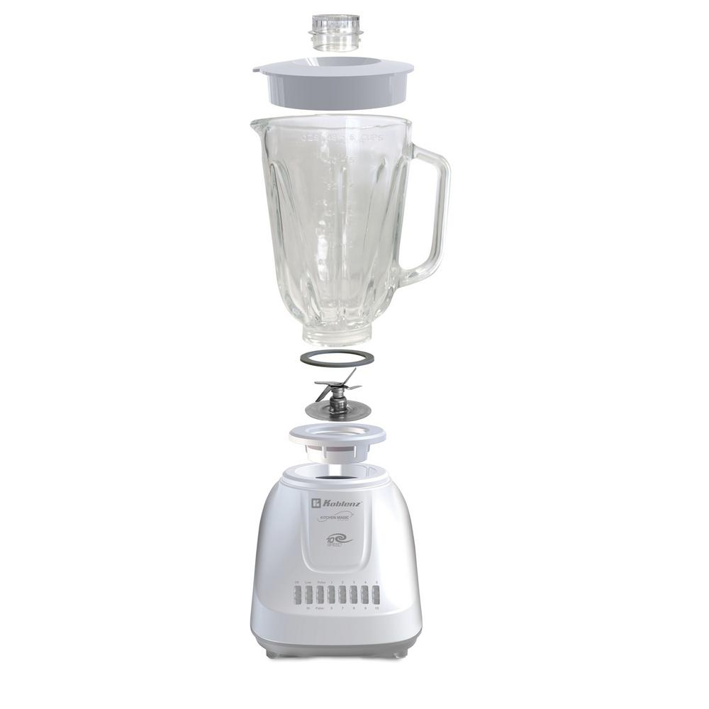 Kitchen Magic Collection 50 oz. 10-Speed and 2-Pulses White Glass Jar Blender