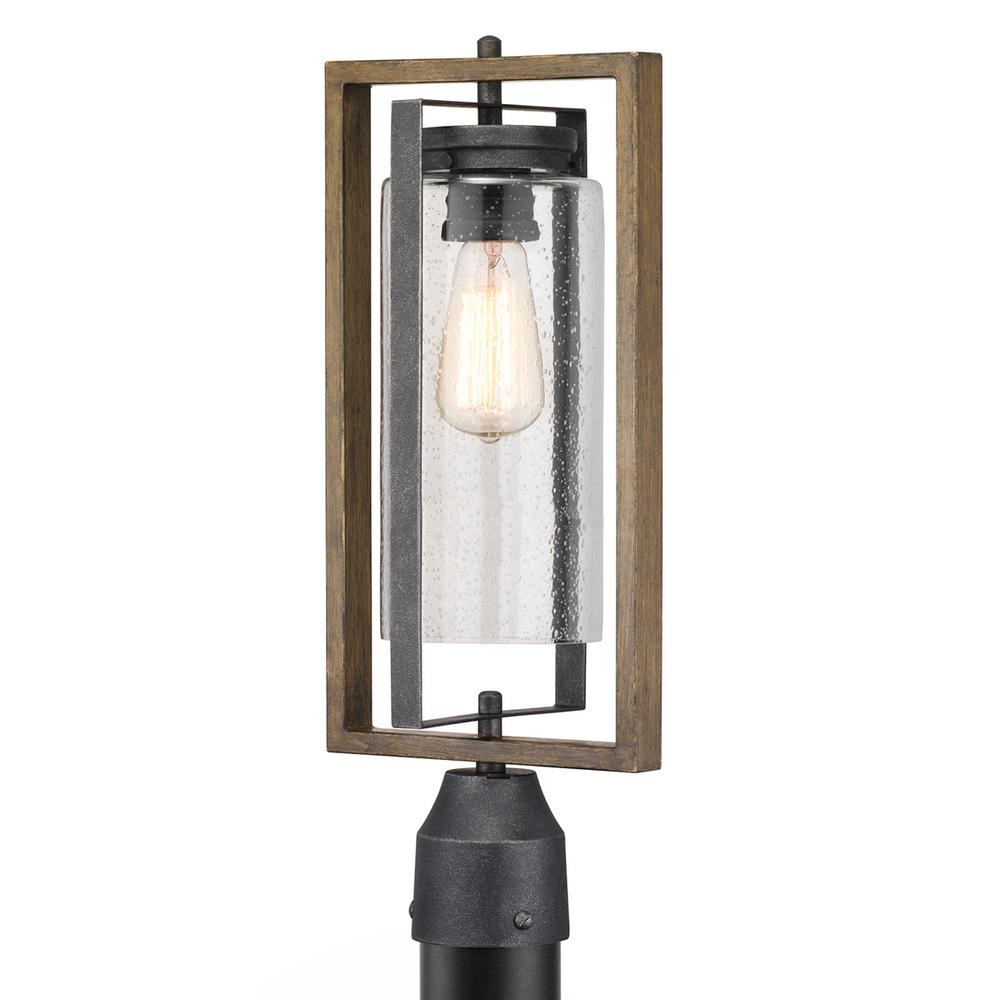 HomeDecoratorsCollection Home Decorators Collection Palermo Grove 1-Light Outdoor Gilded Iron Post Light with Walnut Wood Accents