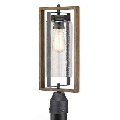 Palermo Grove 1-Light Outdoor Gilded Iron Post Light with Walnut Wood Accents
