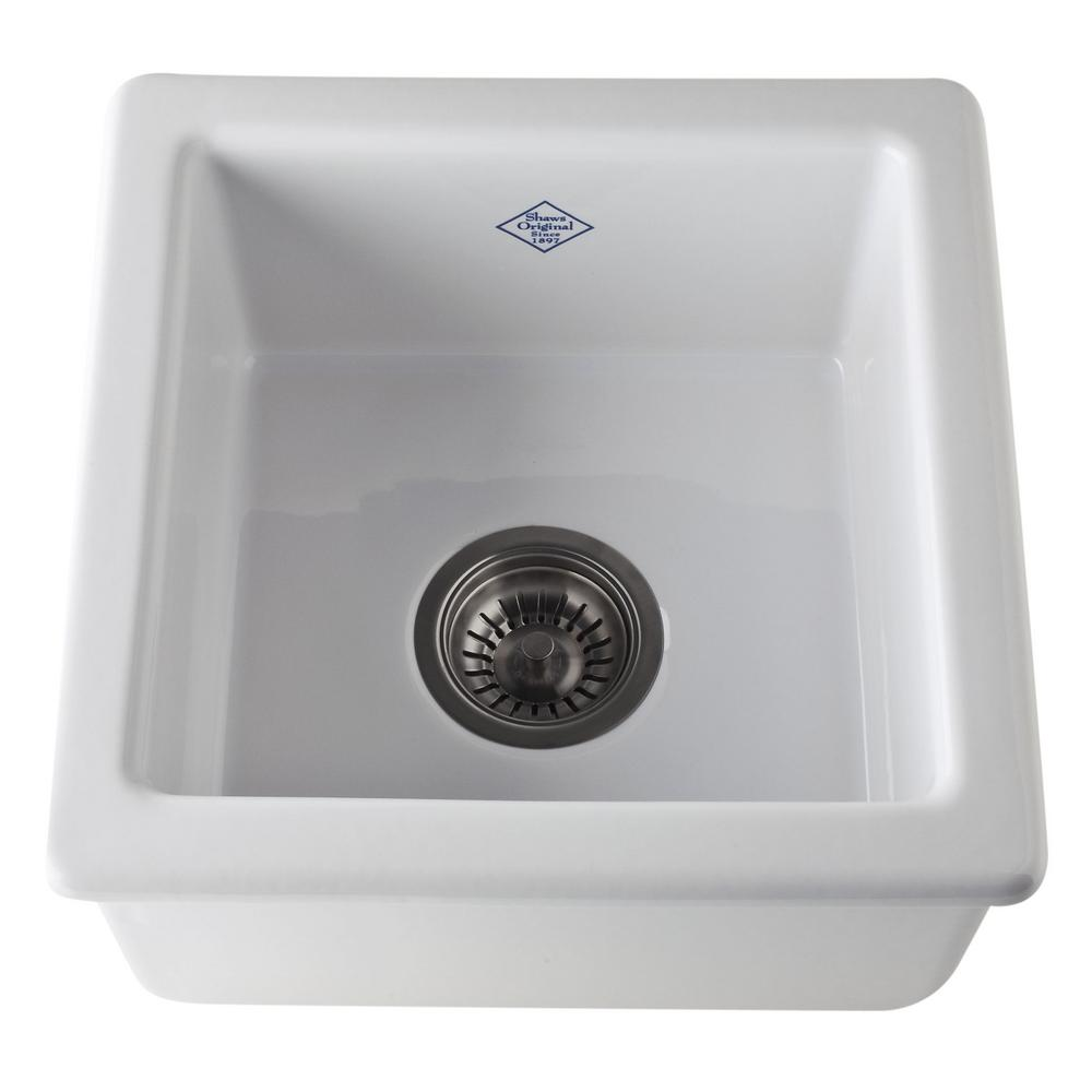 Rohl Lancaster Dual Mount Fireclay 15 in. Single Bowl Kitchen Sink ...