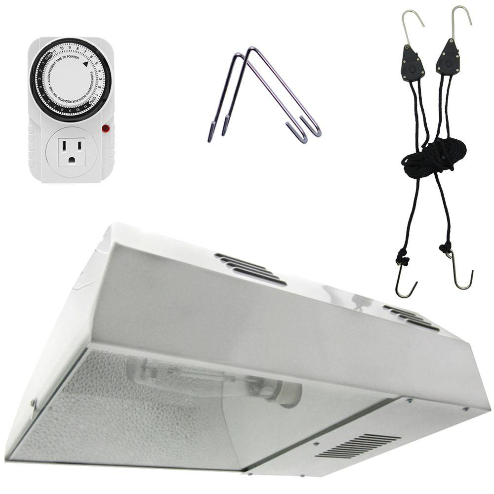 15 in. 150-Watt White Greenhouse Plant Grow Light System ...