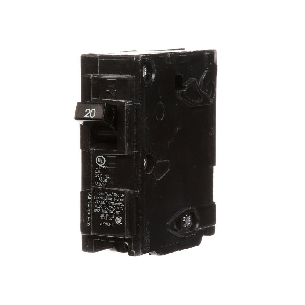 siemens 20 amp single pole type qp circuit breaker q120u the home rh homedepot com