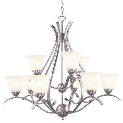 Aspen 9-Light Brushed Nickel Chandelier with Marbleized Shades