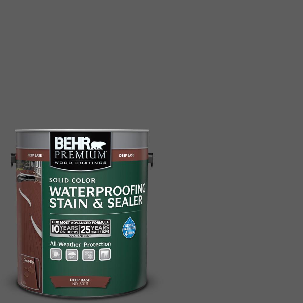 1 gal. #N520-6 Asphalt Gray Solid Color Waterproofing Exterior Wood Stain