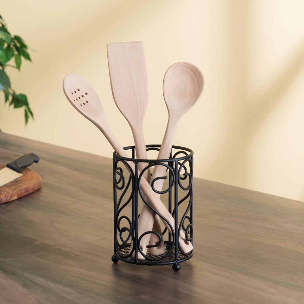 Scroll Collection Black Steel Cutlery Holder with Mesh Bottom and Non-Skid Feet