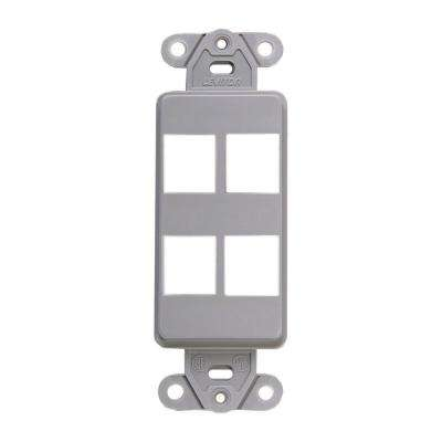 1-Gang Decora QuickPort 4-Port Insert in Gray