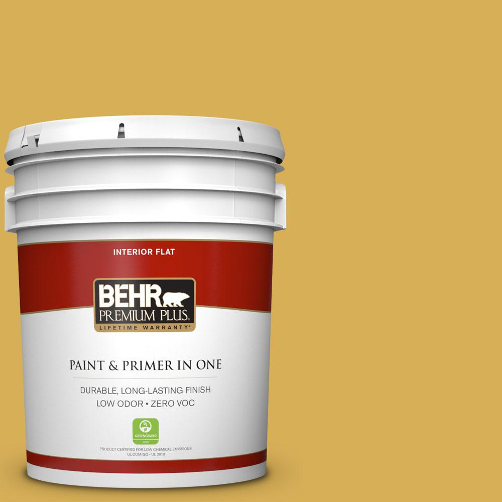 5 gal. #370D-6 Golden Cricket Zero VOC Flat Interior Paint